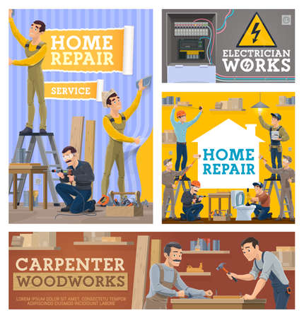 Home repair and renovation, construction vector workers. Wallpapering worker, handyman repairing table and carpenters working in workshop, electrician, plumber and painter at work