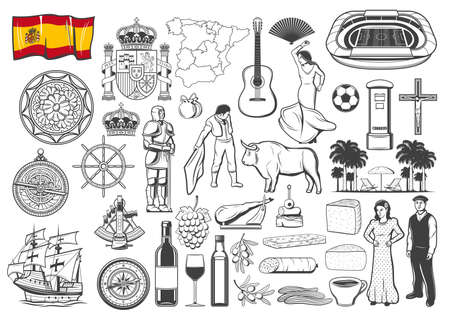 Spanish travel icons and symbols, vector map and flag, Barcelona and Madrid landmark icons. Spain flamenco and olives, food paella and bull corrida, guitar and caravel, coat of arms and wine