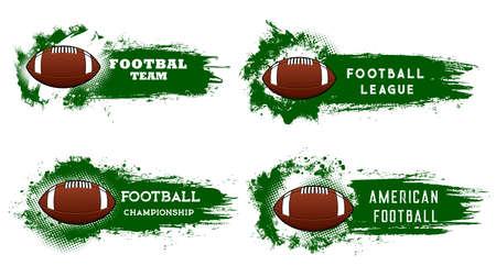 American football sport vector grunge banners. Football championship, team club emblem. Brown leather american football balls with white lace, grunge green grass splashes, brush stroke