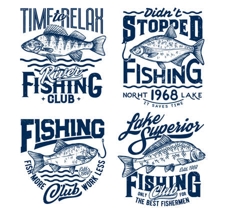 Fishing t-shirt prints with fish, ocean fisher club tee. Lake angling and fisherman sport for big fish catch on rod hook, marine waves vector emblem and fishing quotes for t-shirt prints