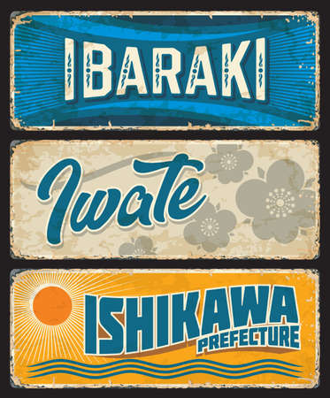 Ibaraki, Iwate and Ishikawa tin signs, Japan prefecture grunge vector plates. Japan region old plates with retro typography, paulownia flowers and sun. Asian voyage memories, travel destination sign