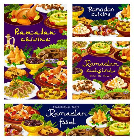 Ramadan food, iftar cuisine dishes, Islam biryani and Eid Mubarak meals menu, vector. Ramadan Kareem traditional Iftar food, shortbread with hummus and kunafa dates, baked chicken, maskuf and atayef