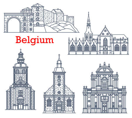 Belgium travel landmarks of Namur and Stavelot, vector cathedrals and churches architecture line icons. Belgium landmarks of Church of Our Lady in Hasselt, St. Quentin Cathedral and Namur citadel fort Vetores