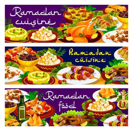 Ramadan food, Iftar biryani and Eid Mubarak meals, Islam menu dishes, vector banners. Ramadan Kareem traditional Iftar food and religious fasting cuisine food, shortbread with hummus and kunafa dates