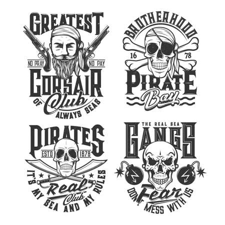 Sea pirate gangs t-shirt print with human skulls, crossed bones and sabers, corsair face, flintlock pistols and cannonballs or grenades with burning wick. Clothing custom design print vector templates