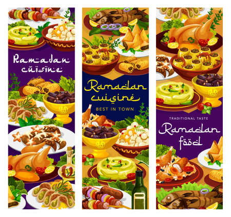 Ramadan food, Iftar Islam cuisines menu meals for Eid Mubarak, vector restaurant dishes. Ramadan Kareem traditional Iftar food menu biryani sweet dumplings, lamb skewers and shortbread with hummus