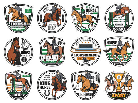Horse races and jockey polo club emblems, equestrian sport rides, vector icons. Equine steeplechase championship, jockey school and hippodrome training, elite horse polo cup badges Vector Illustration