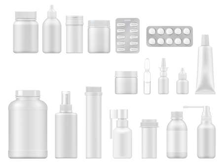 Pill, drug and medicament realistic vector packages. 3d mockups of pharmaceutical packaging, white plastic bottles, packs, boxes and blisters with pills, spray and drops, ointment tube and ampoule 矢量图片