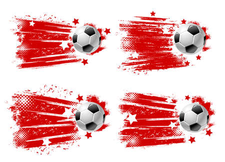 Football ball banners, soccer championship and cup match goal, vector halftone splash backgrounds. Soccer or football club and team league emblem badges with ball flying with red stars