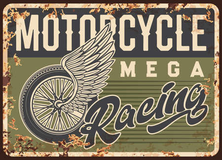 Classic motorcycles racing cup rusty metal plate. Motorsport competition, motorbikes race championship tin sign. Grunge vector plate with vintage bike wire-spoked wheel, angel wing and typography