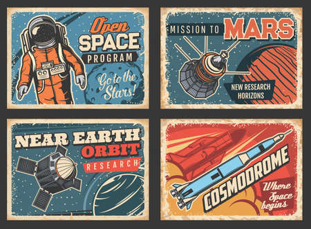 Outer space program and near Earth orbital research vector retro posters. Astronaut, satellites and space ship in universe. Galaxy, deep space exploration, cosmic mission, vintage grunge cards set