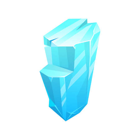 Ice crystal, iceberg icon, frozen cube of snow, vector blue cold frost glass rock. Isolated ice rock crystal, winter icicle, or arctic ice glacier piece, cartoon flat stalagmite Vector Illustratie