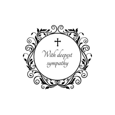With deepest sympathy message on gravestone with vintage flower ornaments and crucifix cross. Vector funeral lettering on tombstone, round floral border frame. Burial card template, obituary memorial