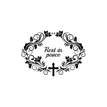 RIP lettering floral funeral frame, ornate grief isolated border design. Vector flowers and leaves ornamental frame, rest in peace inscription. Mourning calligraphy on tombstone or gravestone memories Vector Illustration