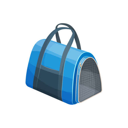 Cats bag, pets travel carrier or portable handbag, vector animals care accessory. Pets carry and travel item, cats and kittens transportation breathable bag with handles