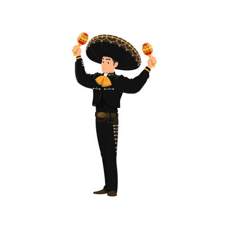 Spanish street band player mariachi plays on maracas isolated cartoon character. Vector performer with maracas musical instruments, mariachi player in sombrero hat and black national costume