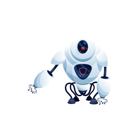 Ai robot with suctions on arms and legs isolated sci-fi white android, camera on head Vector modern technologies character, plastic machine helper, kids toy. Artificial intelligence, digital interface