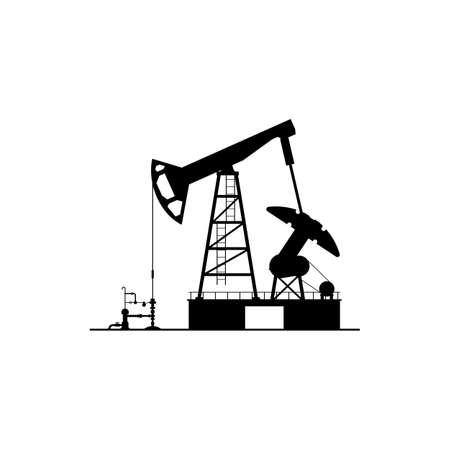 Oil derrick silhouette isolated pump jack icon. Vector oil industry factory plant, drilling pumps, petroleum production station. Chemical platform, gasoline oilfield with pump jacks, cranes