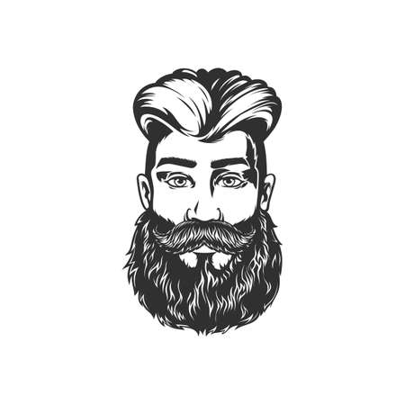 Bearded man with mustaches isolated model in barber shop saloon. Vector handsome male with stylish hairstyle, brutal hipster portrait. Barbershop, grooming hairdresser haircut salon emblem