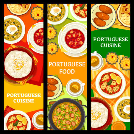 Portuguese food, Portugal cuisine dishes and restaurant menu vector banners. Portuguese cuisine dinner and lunch meals, bacalhau fish, rice pudding and bread soup, seafood and cod in cream sauce