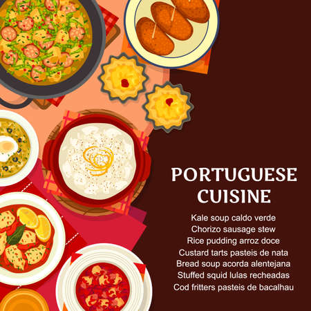 Portuguese cuisine food, Portugal restaurant dishes and meals menu, vector. Traditional Portuguese food of fish and seafood soup, dinner stew and appetizers, cafe pastry tarts and lunch cod with rice