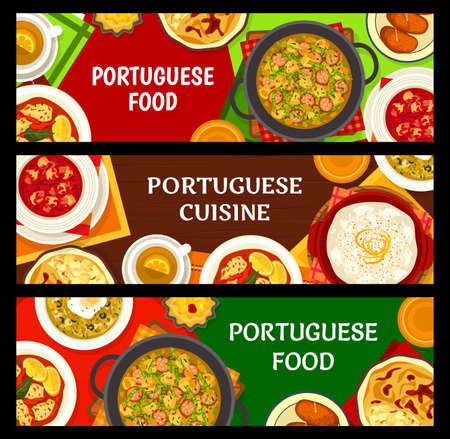 Portuguese cuisine food dishes, Portugal restaurant menu meals, vector banners. Portuguese traditional dinner and lunch menu of bacalhau cod fish, rice pudding, seafood squid and chorizo sausage stew