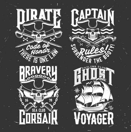 Pirate captain skull, corsair sail ship t-shirt vector print. Sea sailing club clothing print template, grunge emblem with pirate bones and typography. Skull in tricorne, cutlass and flintlock pistol