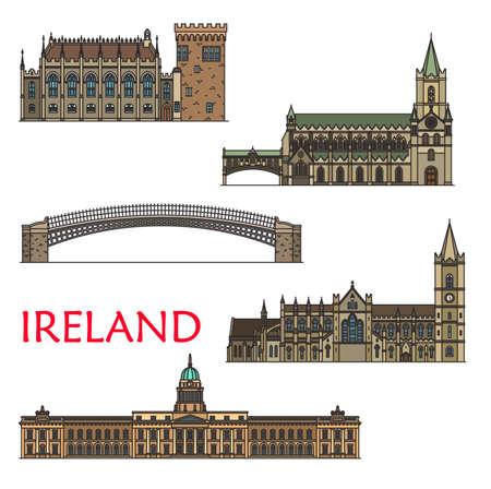 Ireland travel landmarks, architecture buildings of Dublin, vector sightseeing. Irish Castle in Dublin, Ha penny or Liffey Bridge, Custom House, Christ Church or Cathedral of Holy Trinity Ilustracje wektorowe