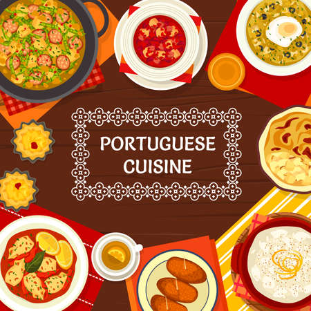Portuguese food menu cover, Portugal cuisine restaurant dishes and meals, vector poster. Portuguese cuisine traditional lunch and dinner with cod bacalhau, bread and kale soup with rice pudding pastry