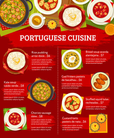 Portuguese food menu, lunch dishes and Portugal restaurant meals, vector poster. Portuguese food traditional bacalhau cod fish, chorizo sausage stew and custard tarts, rice pudding and stuffed squid