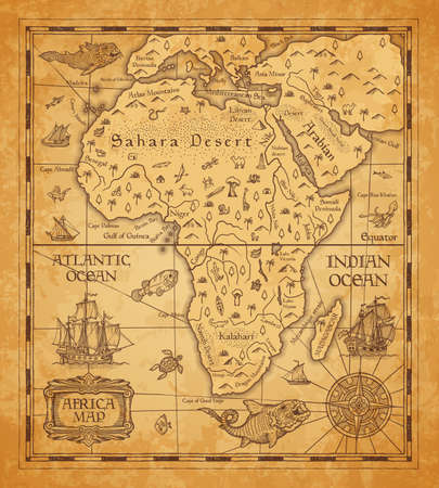 Antique map of Africa on old parchment. Vector African continent with islands, sea and oceans, mountains, deserts and rivers, vintage sail ship, boat, nautical compass rose and ancient monster fish Ilustração Vetorial