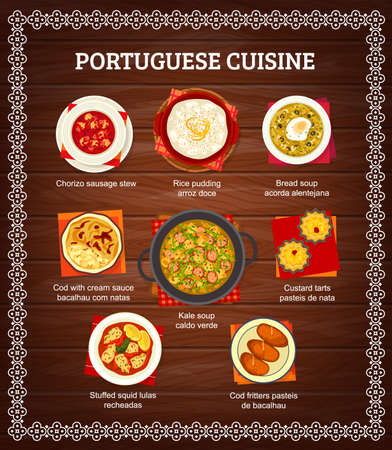 Portuguese cuisine menu food dishes, Portugal restaurant dinner and lunch meals, vector poster. Portuguese food cod fish bacalhau in cream sauce, bread soup, rice pudding and traditional sausage stew