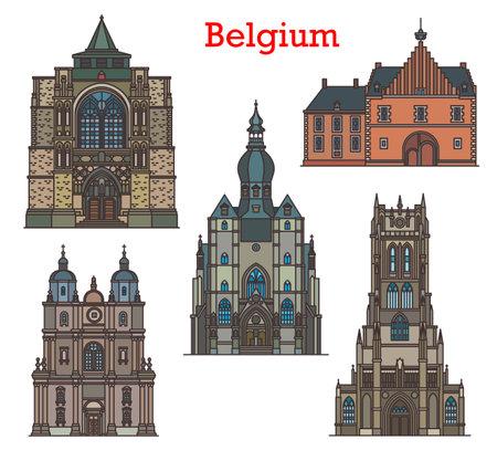 Belgium landmarks, cathedrals and old architecture, vector cathedrals and churches. Belgium travel landmarks Notre Dame Basilique de Tongre, Abdij van Herkenrode monastery and Saint Sulpice church