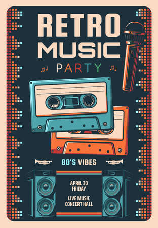Retro music party vector flyer or poster. Live music performance, 80s hits concert vintage vector banner. Magnetic tape compact cassettes, stage microphone and audio speakers, neon disco lights Ilustración de vector