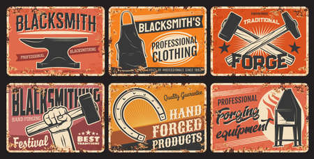 Blacksmith steel forging and iron works, metal plates rusty and vector retro posters. Blacksmithing workshop, foundry anvil and hammer in hand, hand forged products and equipment tools