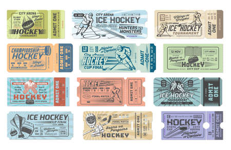Ice hockey tournament admit one tickets set. Vector hockey player skating on rink with stick and puck, goalkeeper mask and goal, skates, match winners cup. Ice hockey championship game entrance pass