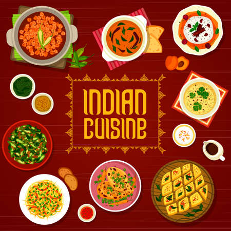 Indian cuisine restaurant menu cover with vector spice food of meat and vegetable curry, cake and ice cream dessert. Lentil corn soup, chicken, chickpea and okra curry, cabbage salad and green chutney Vetores