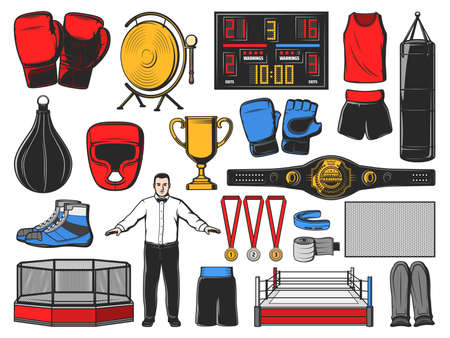 Boxing icons of kickboxing or MMA fight equipment and items, vector. Boxing garments and equipment of box glove, punching bag and boxer helmet, referee judge and ring, winner belt award and outfit Vektorgrafik