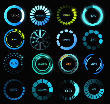 Loading progress or status bar vector icons of HUD user interface design. Futuristic digital interface of head up display with circular bars of download process, data upload, loader percentage diagram Векторная Иллюстрация