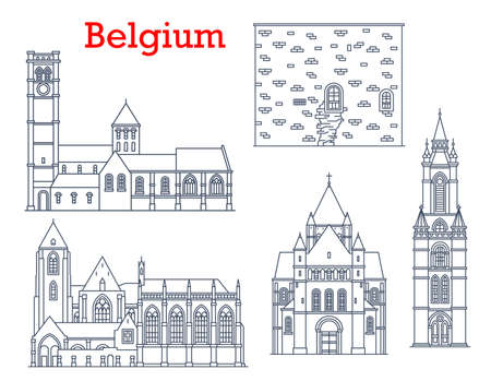Belgium travel landmarks, architecture and buildings, vector cathedrals and churches. Belgium landmarks of Saint Quentin and St Brice church in Leuven and Tournai, Our Lady cathedral in Courtray