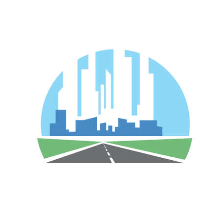Freeway path, speed highway icon with skyscrapers. Vector freeway, asphalt road with straight roadway and metropolis skyline on horizon. Road travel, transportation industry symbol