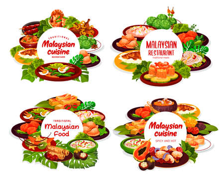 Malaysian cuisine round posters, vector vegetable food with meat, seafood, fish and rice dessert. Noodle shrimp soup, coconut beef stew, egg curry and chicken satay, prawn spring rolls, veggie salad