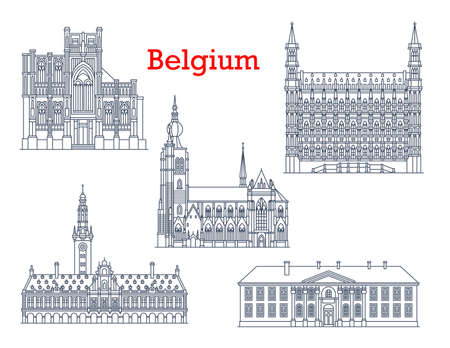 Belgium landmarks, travel architecture and buildings of Leuven and Aarschot vector icons. Belgian famous cathedrals and churches of St Peter or Sint Pieterskerk, university and Pope college