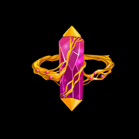 Magic ring with pink gemstone, vector fantasy jewelry. Wizard or witch gold jewel with precious gem and golden roots twine diamond, ruby or crystal. Isolated cartoon design element for computer game Vecteurs