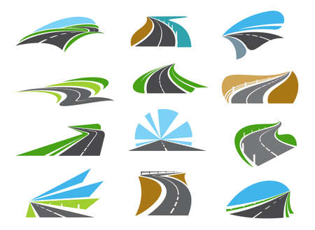 Freeway, highway road icons with roadsides and guardrails. Winding driveway, winding motorway or coastal speed road. Road trip, transportation and logistics industry emblems 矢量图片