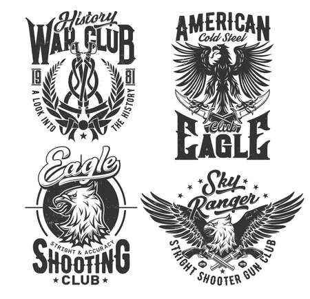 Eagle American t shirt print, club of shooting, vector emblem icons. Sky rangers and military shooting range club badges with gothic heraldic eagle bird with wings, history war club laurel and swords