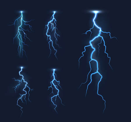 Lightning thunderbolts, thunderstorm bolt vector light effects. Rainstorm electric discharge, lightning strike or energy flash with bright, glowing blue light flares in night sky Ilustração Vetorial