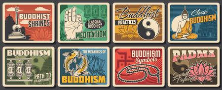 Buddhism religion and meditation symbols of vector lotus flower, Buddha God statue and Buddhist temple. Retro cards with Buddhist monk stupa, prayer wheels and yin yang, fish and mala prayer beads