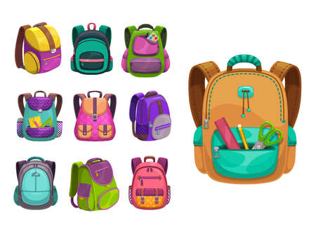 Cartoon vector schoolbags icons, kids school bags of bright colors, knapsacks and rucksacks design. Student baby backpacks with slings, clasp and stationery in zip pocket isolated on white background