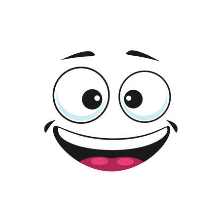 Emoticon in good mood isolated happy smiley emoji. Vector satisfied emoji, support center bot avatar with broad smile. Emoji sticker, person chatbot in good mood. Laughing head, world smile day symbol Vetores